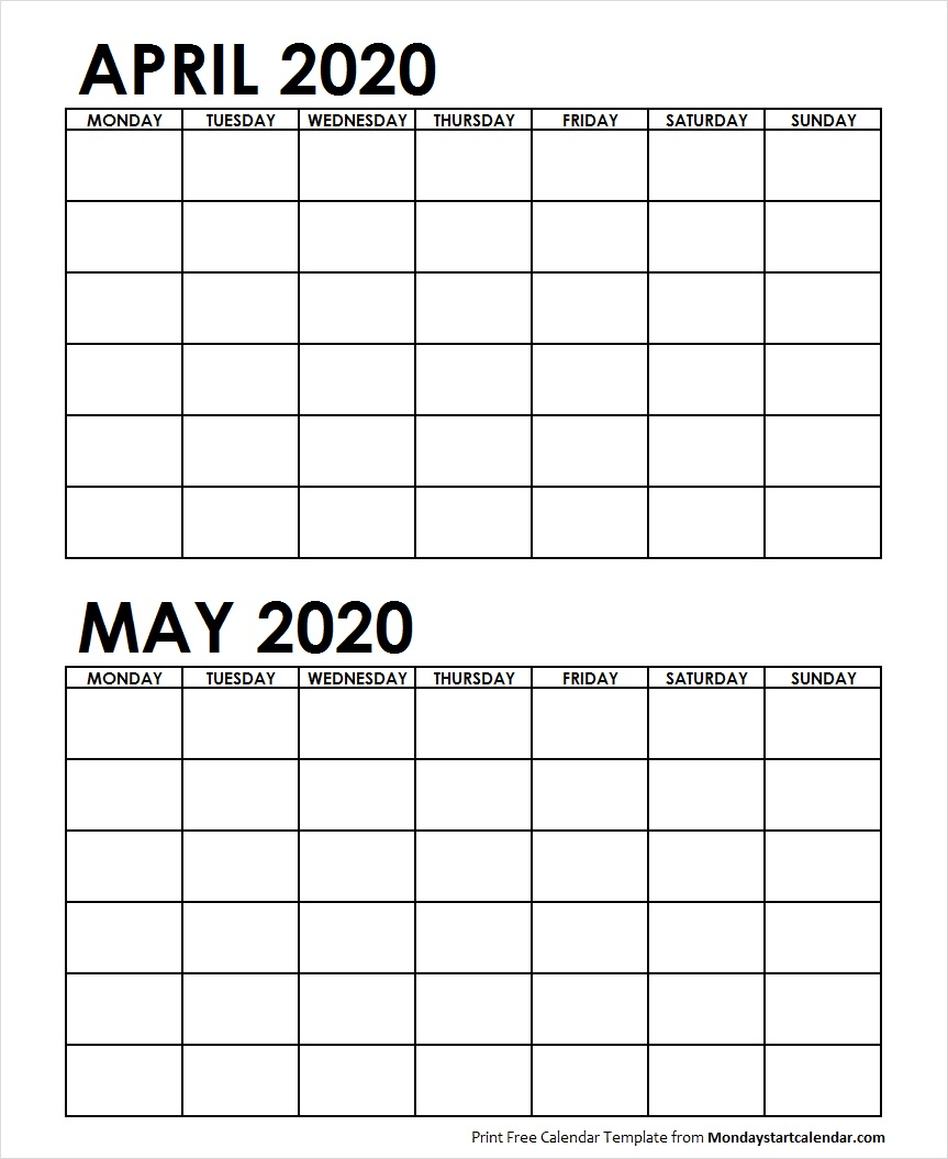 Calendar April May 2020 Two Month April May 2020 Calendar Blank | Two Months Template