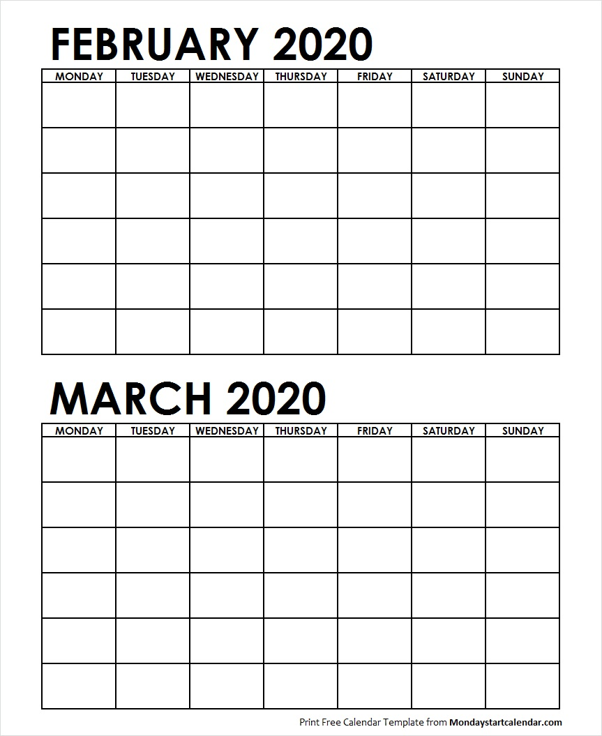 Two Month Calendar February March 2020 Two Month February March 2020 Calendar Blank Template