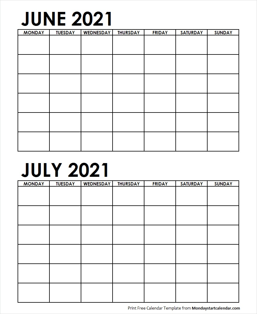 2 Monthly Blank Calendar June July 2021 Archives   Monday Start