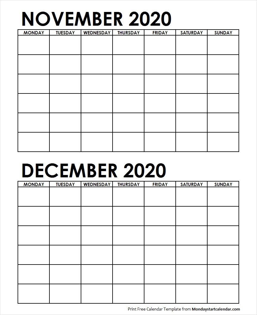 November December 2020 Monthly Calendar Two Month November December 2020 Calendar Blank