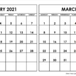 February March 2021 Calendar Monday Start   Two Months ...