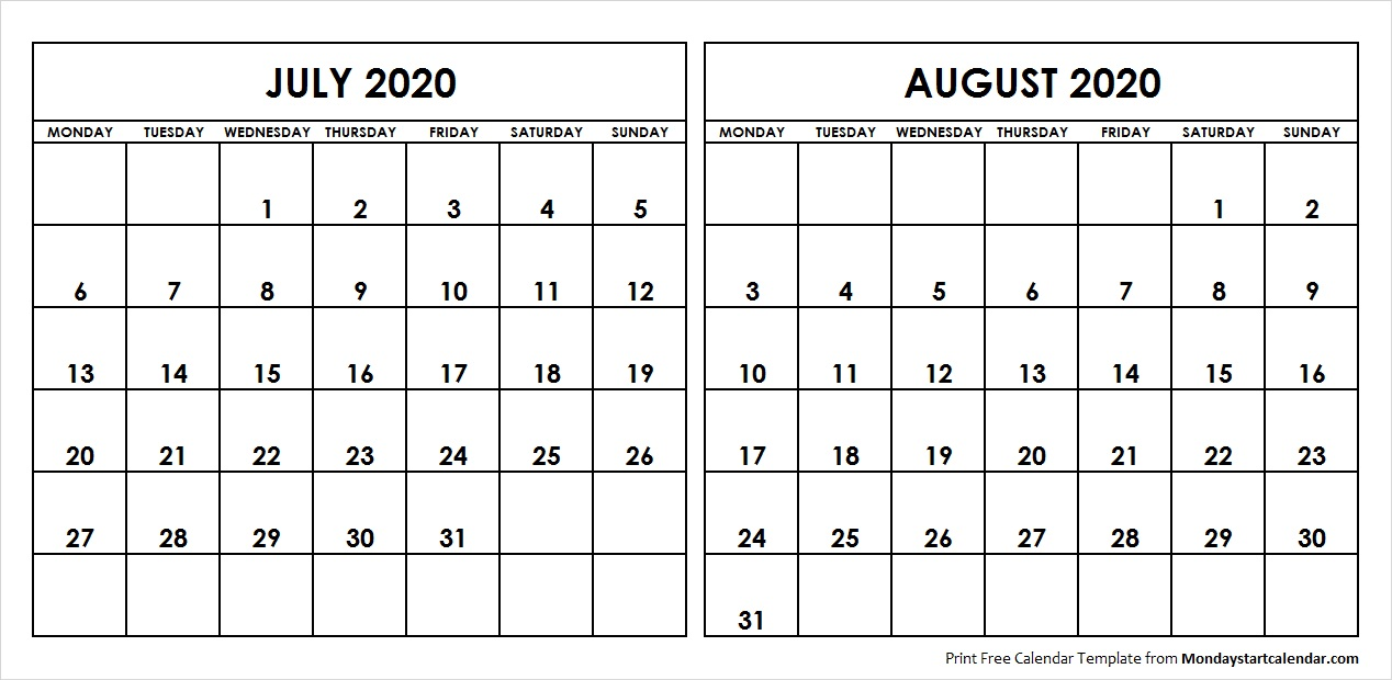 July And August 2020 Calendar July August 2020 Calendar Monday Start | Editable Two Months Template