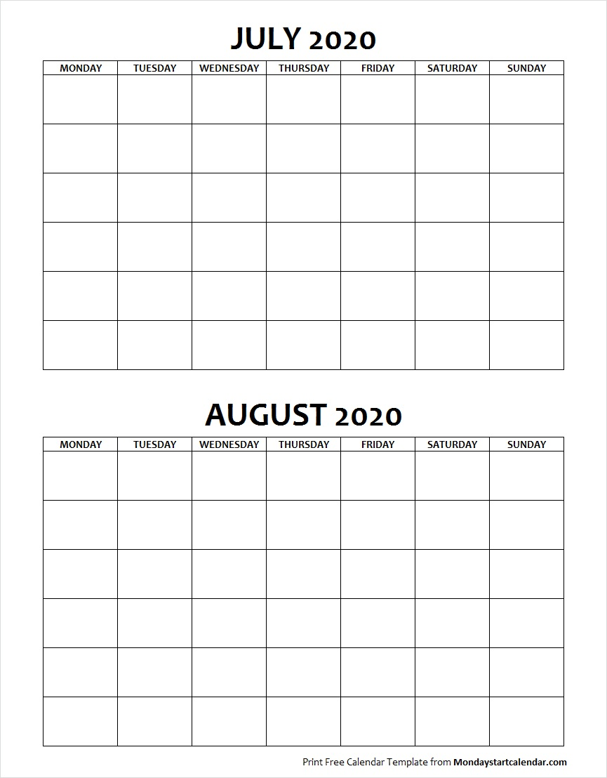 July And August 2020 Calendar Blank July August 2020 Calendar Monday Start | Two Months Template