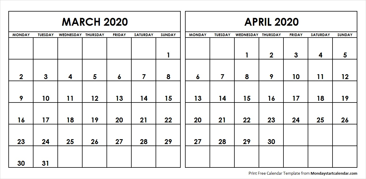 March And April 2020 Calendar March April 2020 Calendar Monday Start | Editable Two Months Template