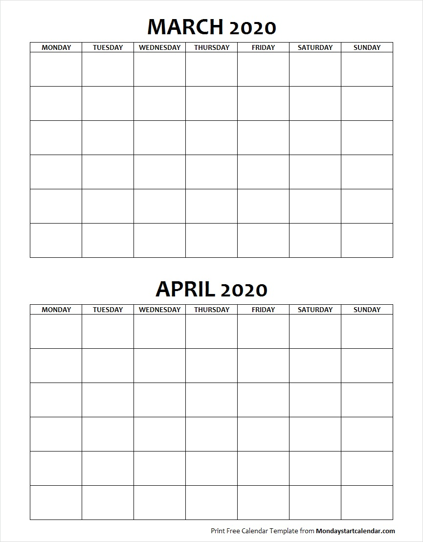 March And April 2020 Calendar Blank March April 2020 Calendar Monday Start | Two Months Template