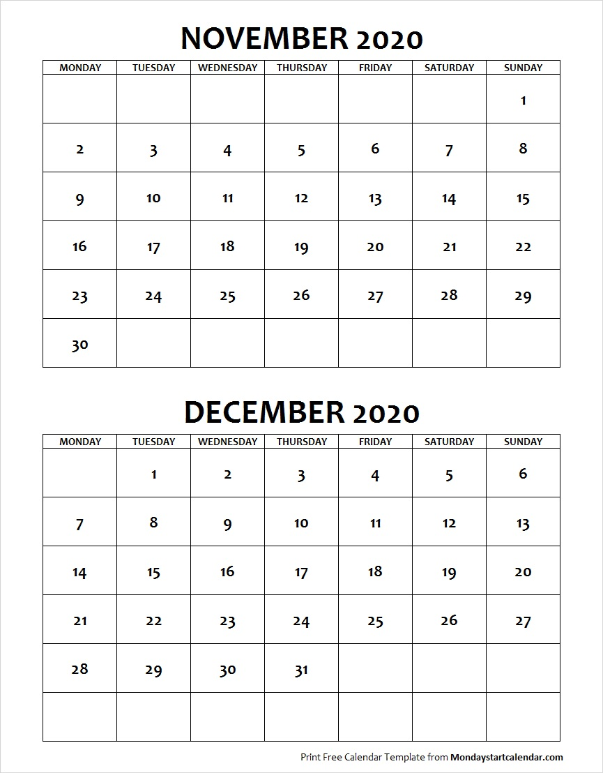 November December 2020 Calendar November December 2020 Calendar Monday Start | Two Months Template