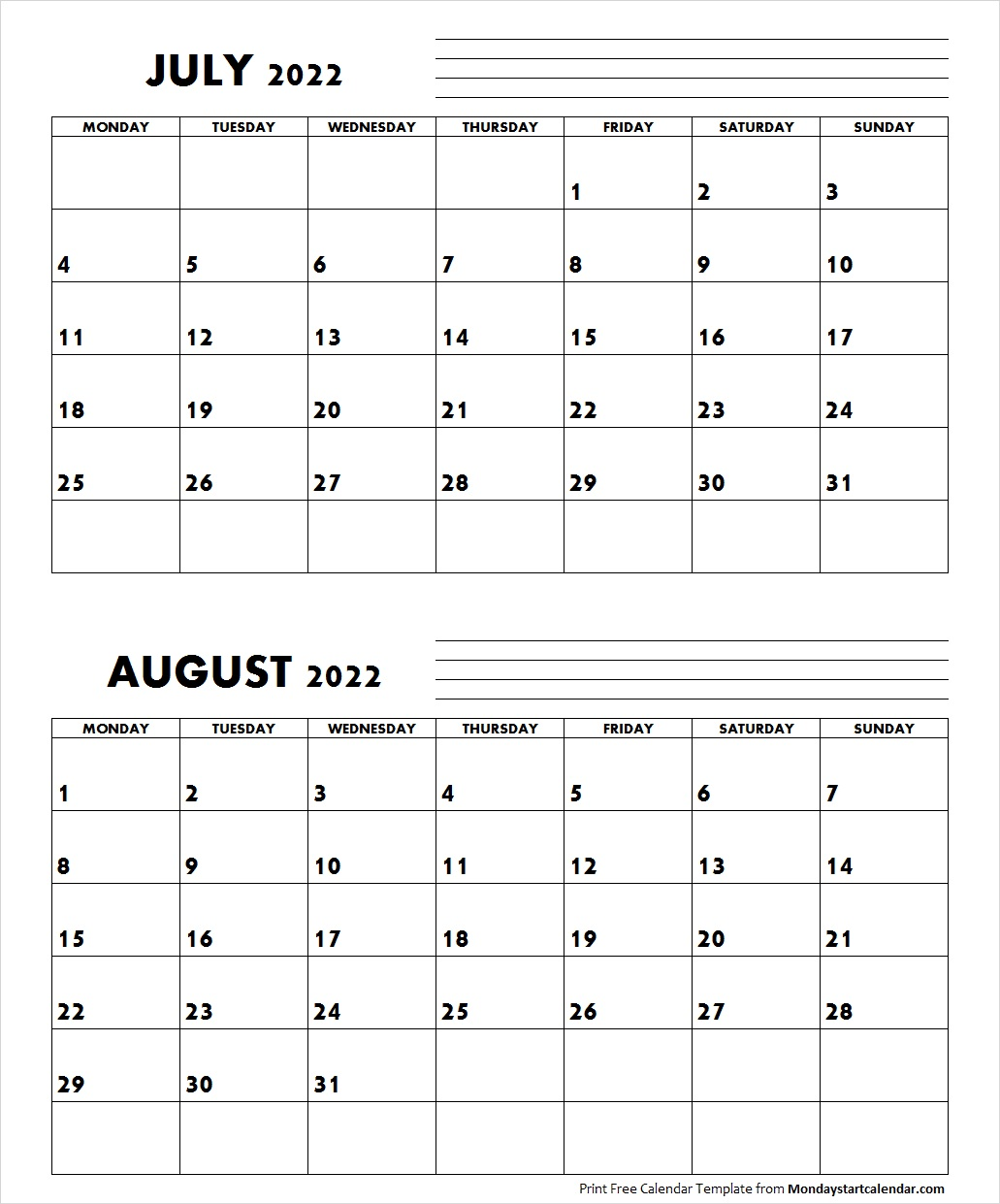 August Calendar Archives - Page 6 of 7 - Monday Start Calendar