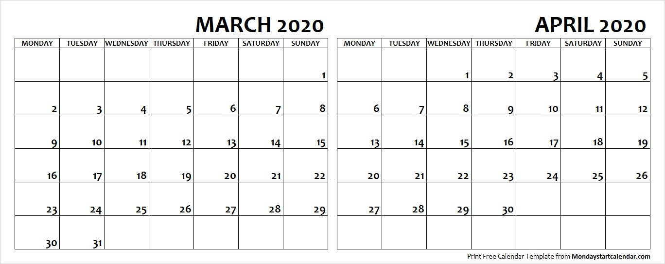 Apr 2020 Calendar Mar Apr 2020 Calendar Monday Start | Editable Two Months Template