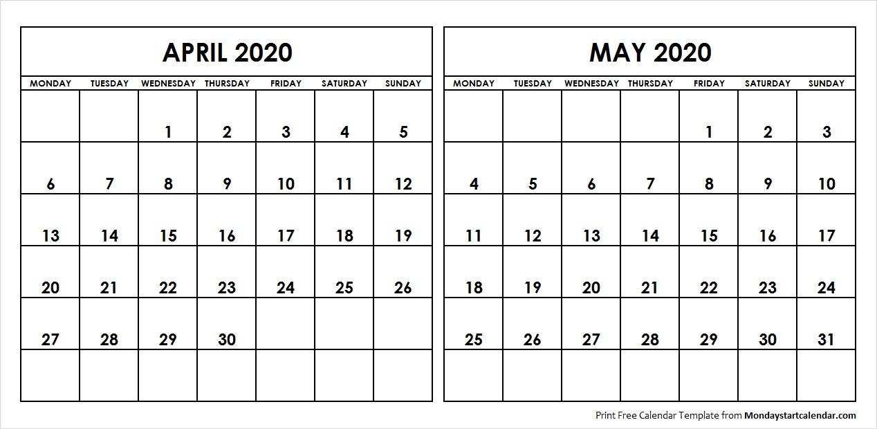 Apr 2020 Calendar Apr May 2020 Calendar Monday Start | Editable Two Months Template