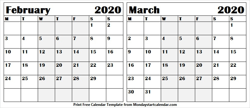 February March 2020  Calendar For Office