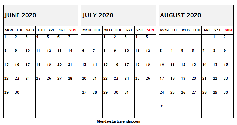 Editable June July August 2020 Calendar