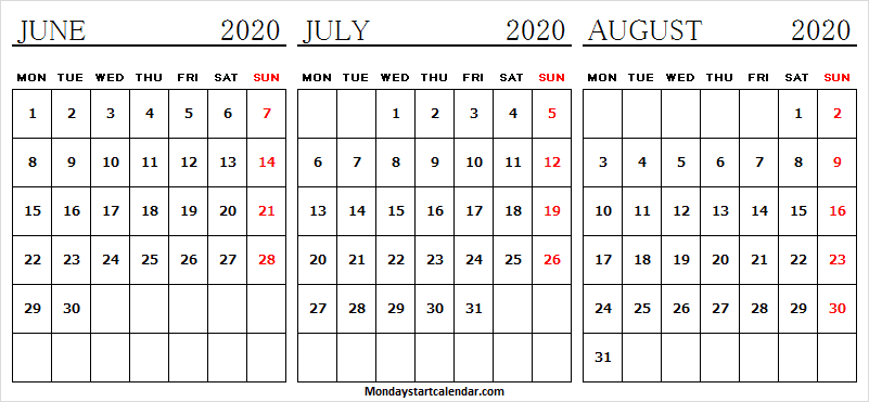 June July August 2020 Calendar Editable Template