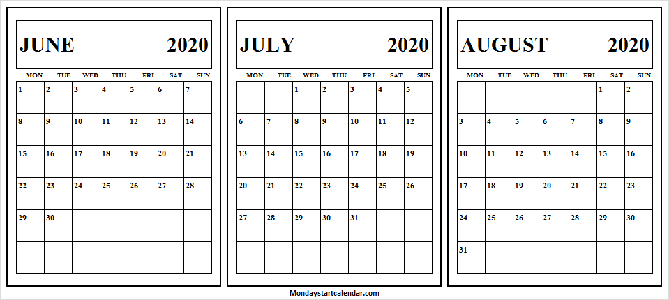 June July August 2020 Calendar Editable