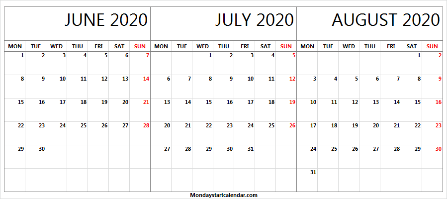 June July August 2020 Calendar Weekdays