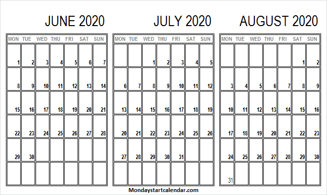 June July August Calendar 2020 to Print