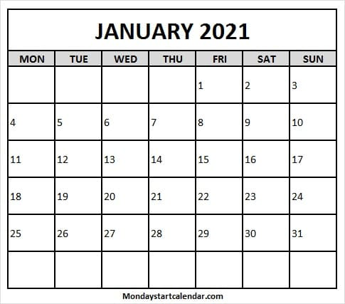 January Calendar 2021 United Kingdom Monthly Calendar Template 2021
