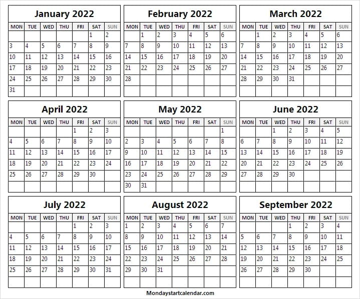 Jan to Sep 2022 Calendar with Notes