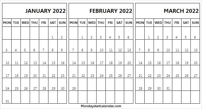 January to March Calendar 2022 Printable