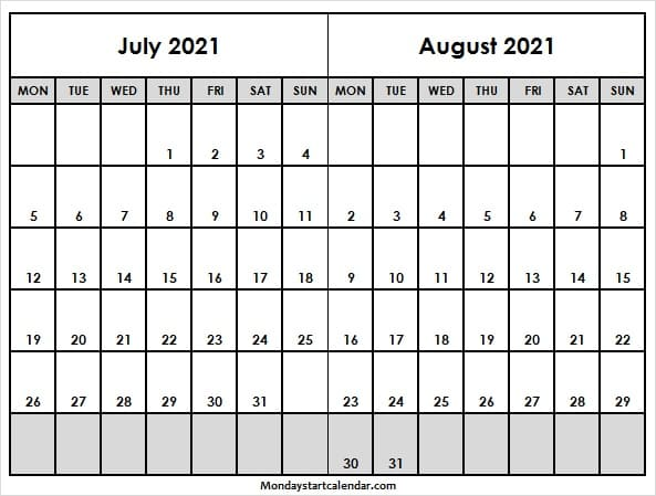 July August 2021 Calendar Mon to Fri - Blank Printable ...