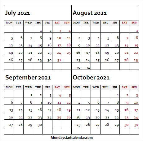 July to October 2021 Mon to Fri - Free Calendar July 2021