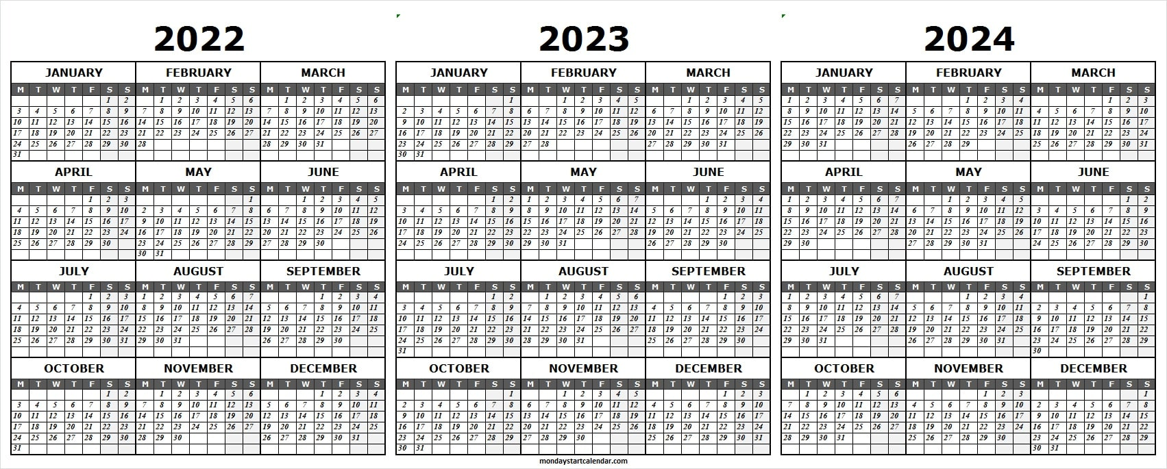 2022 and 2023 and 2024 Calendar Template