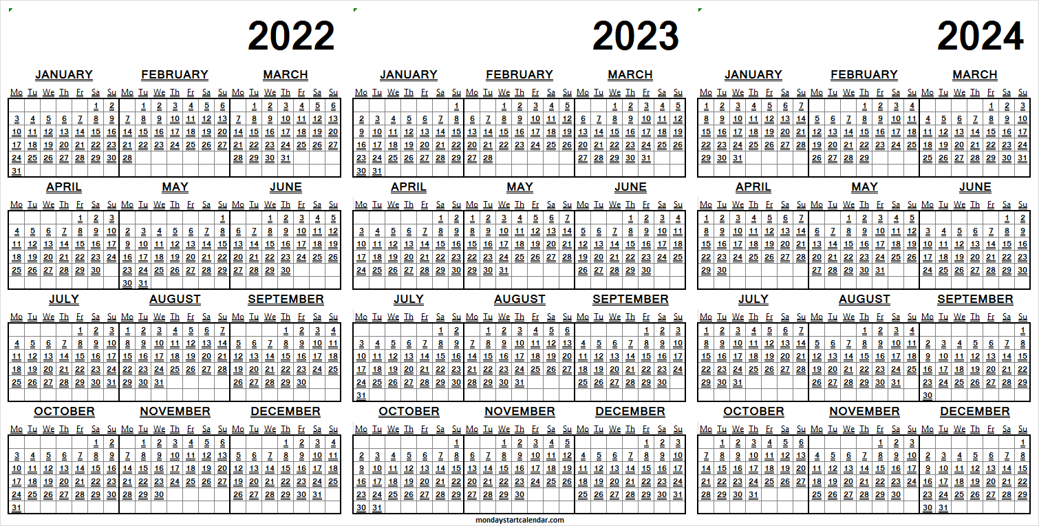 2022 to 2024 Calendar Pages