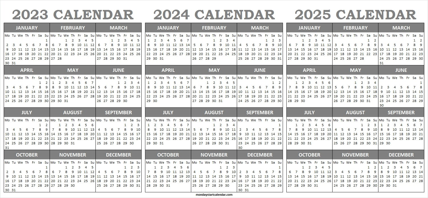 2023 and 2024 and 2025 Calendar Template