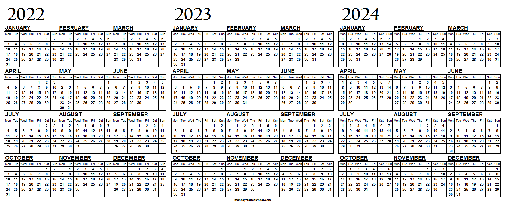 Free Printable 2022 2023 and 2024 Calendar on One Page