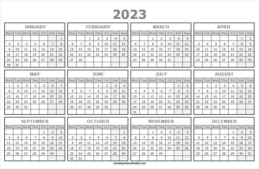 One Page Calendar 2023 Printable Free
