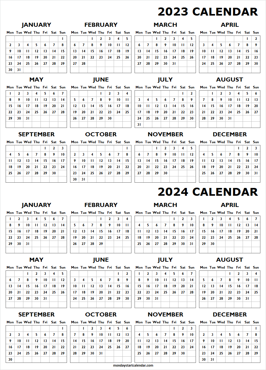 Two Year Calendar 2023 and 2024